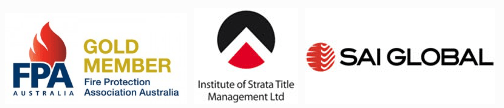 Fire Protection Association Australia log, the Institute of Strata Title Management logo and SAI Global logo